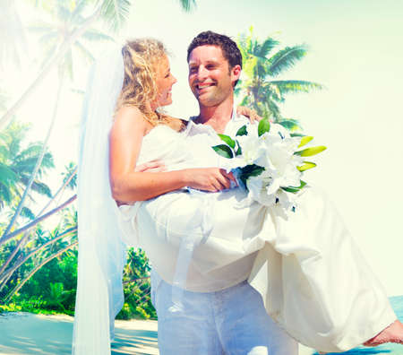 woman beach dress: Marriage Couple Beach Wedding Happiness Concept Stock Photo