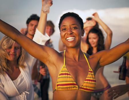 People Beach Enjoyment Fun Summer Friendship Concept