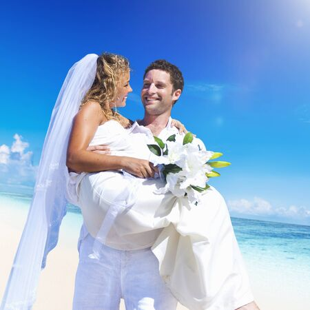 woman beach dress: A couple wedding on the beach love concept