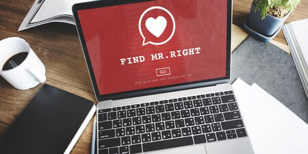 mr: Find Mr Right One Valentine Romance Love Heart Dating Concept