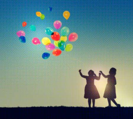 little girls: Balloon Children Child Childhood Cheerful Leisure Concept