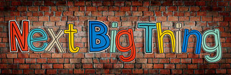 single word: Next Big Thing Brick wall Single Word Text Background Clean Concept