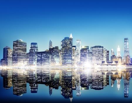 city scene: Building Skyscraper Panoramic Night New York City Concept