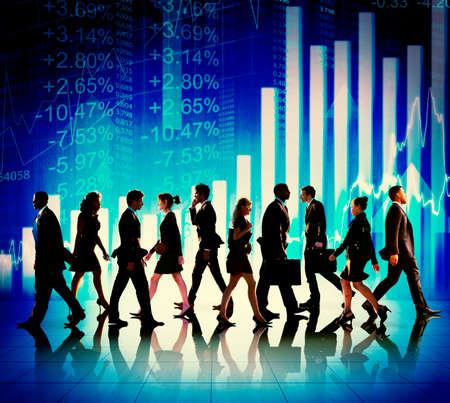 Business People Walking Financial Figures Concept
