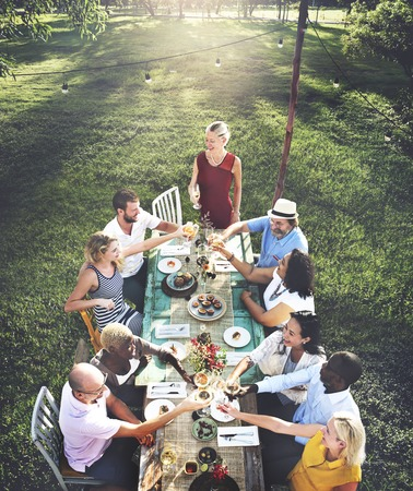 dinner: Diverse People Party Togetherness Friendship Concept