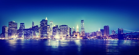 new york city panorama: New York City Panorama Night Concept