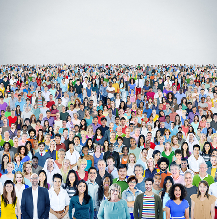 crowd of people: Diverse Diversity Multiethnic Cheerful Variation Concept