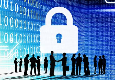 business security: Business People Binary Code Lock Security Cocnept