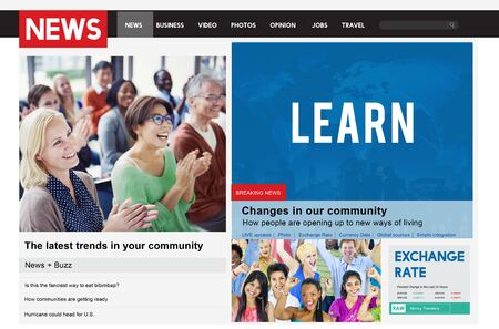 feeds: News Article Advertise Journalism Feeds Concept Stock Photo
