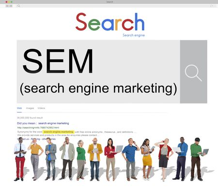SEM Search Engine Marketing Stratégie Concept
