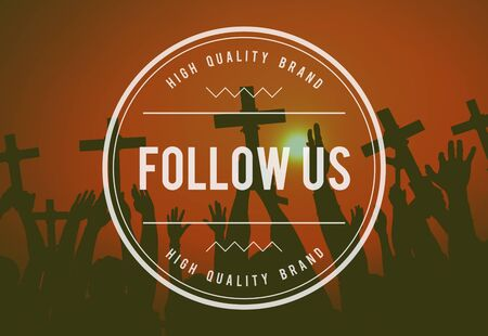 follow us: Folllow Follow Us Follower Followering Sharing Concept