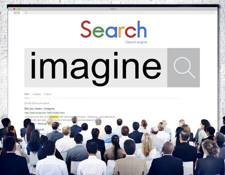 envision: Imagine Imagination Thinking Dream Fresh Ideas Concept Stock Photo