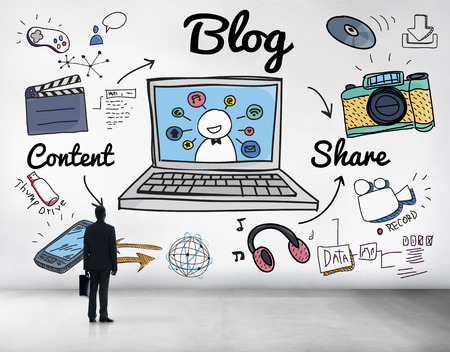 content page: Blog Homepage Content Social Media Online Concept