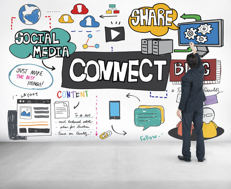 thinking link: Connect Social Media Networking Communication Concept