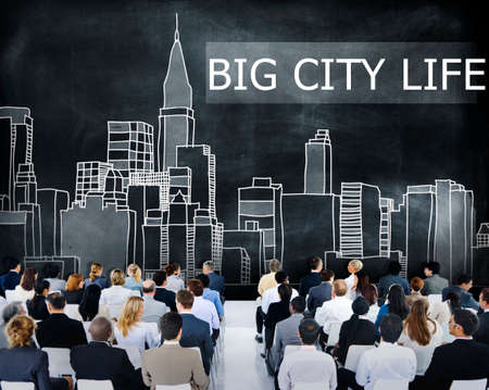 downtown district: Big City Life Downtown District Metropolis Location Concept Stock Photo