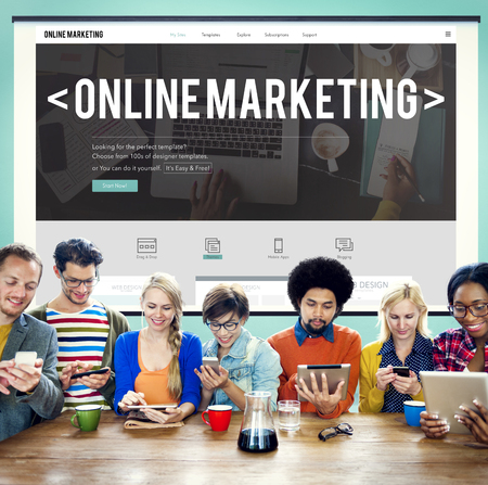 marketing online: Online Marketing Advertising Branding Commerce Concept Stock Photo