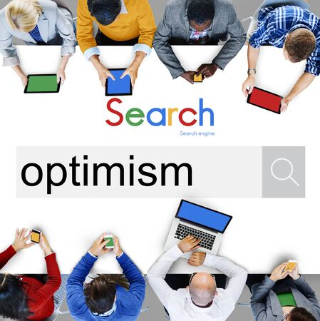 optimismo: El optimismo pensamiento positivo Concepto Actitud de Outlook Foto de archivo