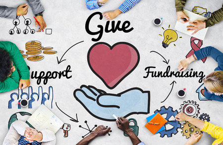 charity relief work: Give Support Fundraising Help Charity Concept