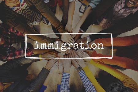 Los inmigrantes de inmigración Migración de movimiento a bordo de Concepto