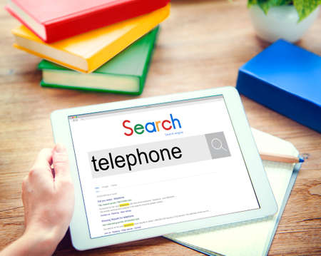 llamando: Telephone Communication Calling Telecommunication Concept Foto de archivo
