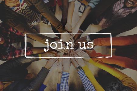 Join Us Team Rekrutierung Registrieren Mitgliedschaft Mieten Konzept Standard-Bild