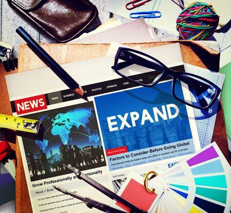 expand: Expand Enlarge Development Growth Progress Grow Concept