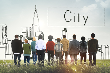 Rear view of people with city concept
