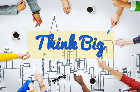 optimismo: Think Big Fe concepto actitud, inspiración optimismo
