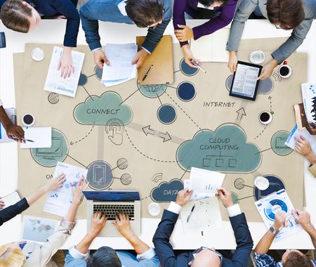 Concpet 연결 클라우드 컴퓨팅 네트워킹 스톡 콘텐츠