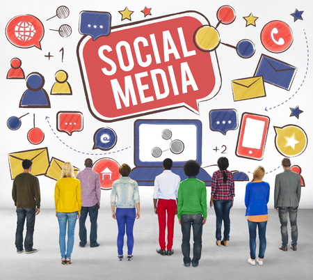 rear view: Social Media Connection Global Communication Concept Stock Photo