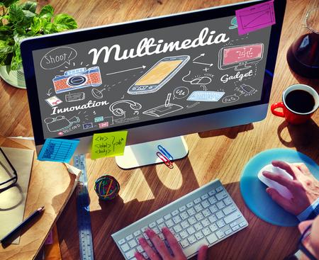 Multimedia Communication Digital Content Concetto Archivio Fotografico
