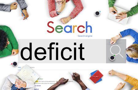 shortfall: Deficit Crisis Problem Bankruptcy Debt Deficiency Concept