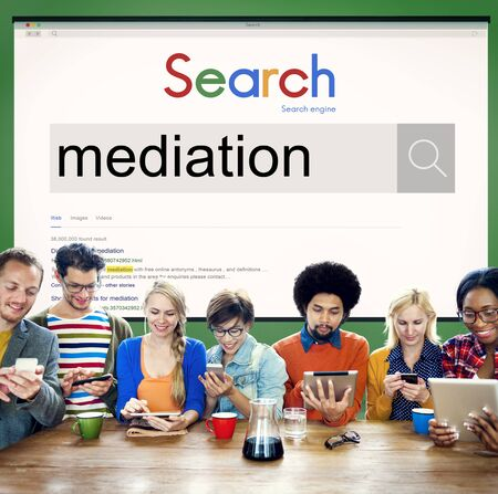 intervening: Mediation Controversy Dispute Diplomacy Concept Stock Photo