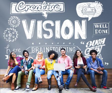 Visienota Creatieve ideeën inspiratie Target Concept Stockfoto - 53560486