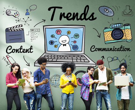 trending: Trends Trend Trending Trendy Fashion Style Design Concept Stock Photo