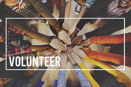 Volunteer Voluntary Volunteering Aid Assisstant Concept Foto de archivo