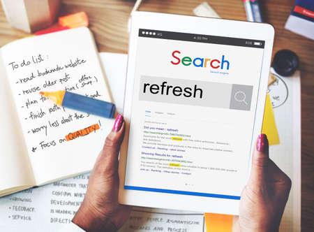 refreshment: Refresh Refreshment Refreshing Renew Rethink Concept Stock Photo