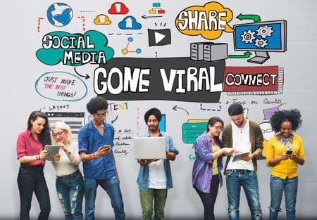 Gone Viral Multimedia Internet Vrtual Content Concept Stock Photo