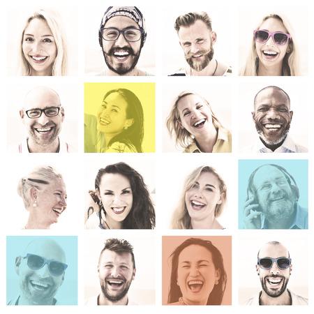 Menschen Reihe von Gesichtern Vielfalt Menschliches Gesicht Konzept Standard-Bild