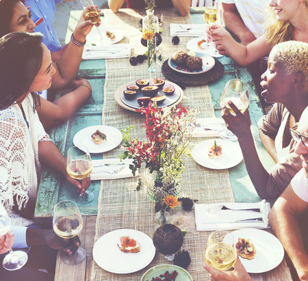 luncheon: Diverse People Luncheon Outdoors Food Concept