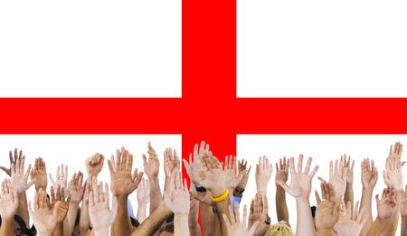 raise the white flag: England Flag Country Nationality Liberty Concept Stock Photo