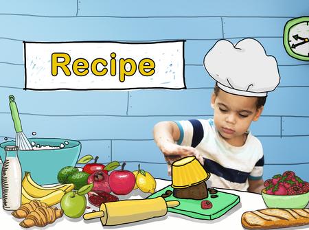 boy kid: Kids Cooking Recipe Food Menu Concept