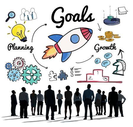 man business oriented: Goals Mission Motivation Aspiration Aim Concept