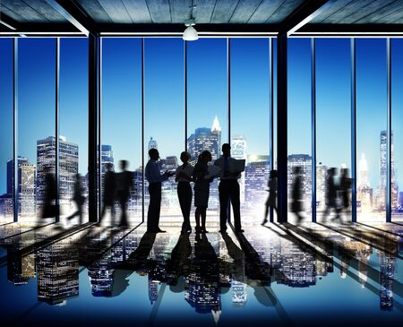 rushing hour: Business People Working Working Corporate Concept Stock Photo