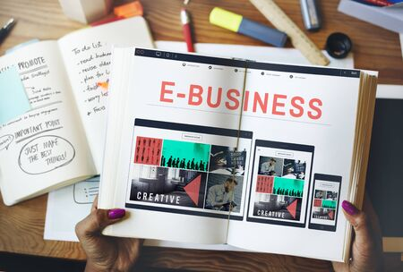 ebusiness: E-business E-commerce Connecting Technology Concept