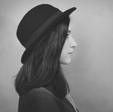 woman profile: Profile Portrait Lady Wearing Hat Concept