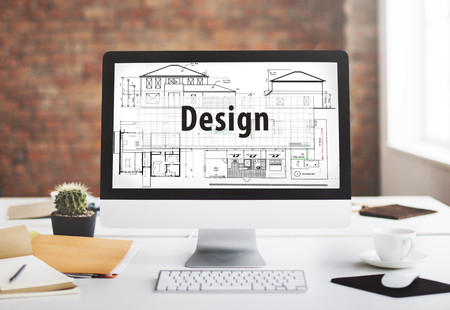 architect drawing: Design Construct Drawing Exterior Architect Concept Stock Photo