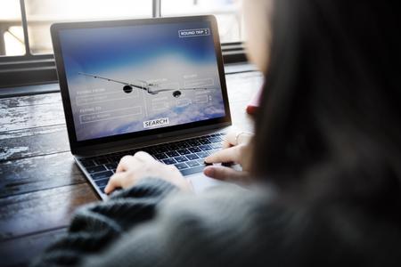 return trip: Flight Reservation Booking Travel Destination Concept