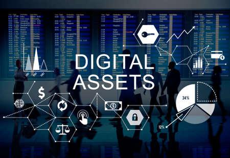 digital asset management: Digital Assets Business Management System Concept Stock Photo