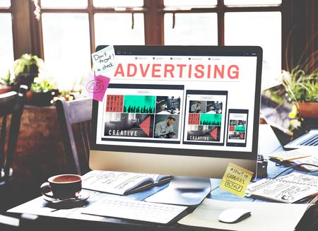 Werbekampagne Förderung Branding-Marketing-Konzept Standard-Bild